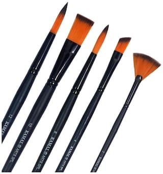 KAMAL Artist Quality Matte Series Black Assorted Paint Brush Set for Water;Poster;Acrylic Colours and Modern Art Painting