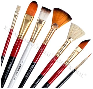 KAMAL Artist Quality Mix Brush Set for Acrylic Painting,Oil Painting,Modern Art Painting