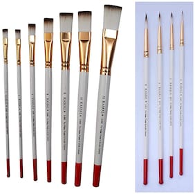 Kamal   Artist Quality Paint Brush Combo White Brown Taklon Hair Flat Set Of 7 And Round Set Of 4