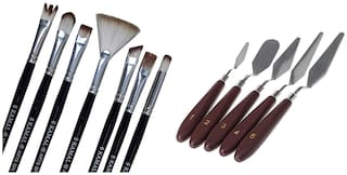Kamal Combo Pack Of Artist Quality Exotic Mix Paint Brush Set For Acrylic Painting With 5 Pcs Stainless Steel Artists Palette Knife Knives Set Thin And Flexible For Oil Painting