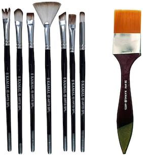 Kamal Combo Pack Of Artist Quality Exotic Mix Paint Brush Set For Acrylic Painting;Oil Painting With Flat Chapta Golden Synthetic Hair Painting Brushes (Taklon) - 38Mm