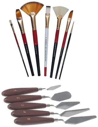 Kamal Combo Pack Of Artist Quality Mix Brush Set For Acrylic Painting;Oil Painting With 5 Pcs Stainless Steel Artists Palette Knife Knives Set Thin And Flexible For Oil Painting