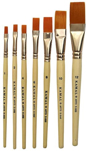 Kamal   Flat Creme Handle Artist Quality Painting Brush Golden Taklon/Synthetic Hair Handmade Quality Set Of 7
