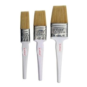 KAMAL Flat CHAPTA(WASH) Brush HOG Hair Non - Synthetic Superior White Handle Set of 3 (25mm;38mm;50mm)