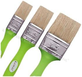 Kamal   Flat Chapta (Wash) Brush Hog Hair Non - Synthetic Superior Fluorescent Green Handle Set Of 3 (25Mm;38Mm;50Mm)