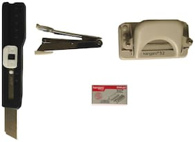 Kangaro Stapler No.10 With Stapler Pins With Paper Punch Machine DP-52 With Cutter