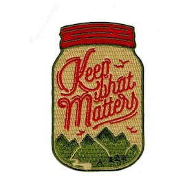 """KEEP WHAT MATTERS IRON ON PATCH 3"""" Embroidered Applique Cute Jar Shape Nostalgic"""
