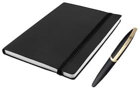 Kevin Danny Combo of Matte Black Forst Roller Ball pen & Black Notebook