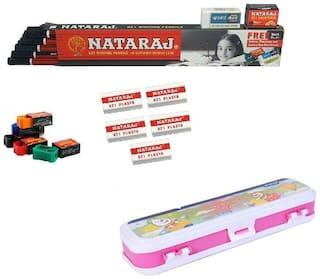 Kids Combo By FNC (10 Natraj Pencils ; 1Compass Box; 5 Eraser & Sharpener )