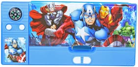 Kids Plastic Jumbo Multipurpose Captain America Pencil Box Blue