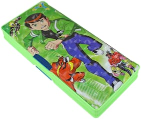 Kids Plastic Jumbo Multipurpose Ben 10 Pencil Box Green