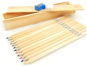 Kidz Wooden Pencils with wooden Box (12 wooden pencils,1 eraser,1 ,sharpner,1 scale.1 wooden box)