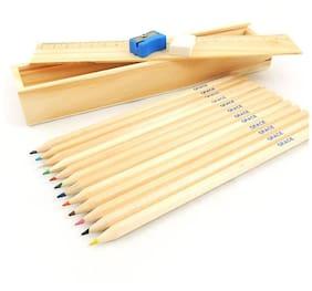 Kidz Wooden Pencils with wooden Box (12 wooden pencils,1 eraser,1 ,sharpner,1 scale.1 wooden box)