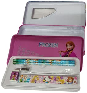 Kidzoo Frozen Princess Print Cute Geometry Box -Two Layer Open -Inbuilt Stationery kit (Steel Material) Geometry Box