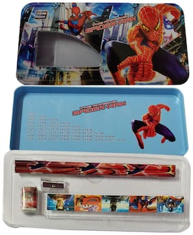 Kidzoo Metal Stationery Kit Spider-man Print Geometry Box , Two Layer Open , Inbuilt Stationery kit (Steel Material) Geometry Box