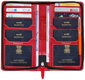 Kittu 4 hastag passport Holder, mini cards Holder and Currency wallet (All in One) And 6 Credit card slot (material- Imported PU Color - maroon light)