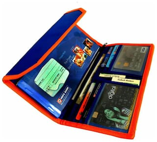 kittu  Blue Tatron (tough Material) cheque book pouch with number of pockets (set of 12) easily used for school and office purpose (Blue)