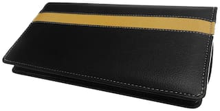 Kittu  FAUX LEATHER EXPANDING CHEQUE AND CARDS HOLDER COLOUR- FRONT BLACK,INNER YELLOW(SET OF 1)