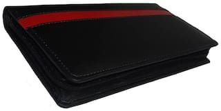 Kittu FAUX LEATHER EXPANDING CHEQUE AND CARDS HOLDER COLOUR- FRONT BLACK,INNER RED(SET OF 1)