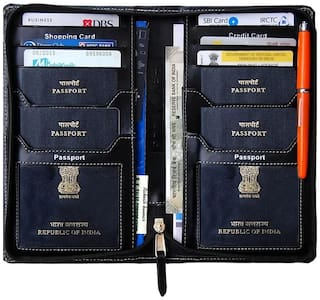 kittu passport Holder, mini cards Holder and Currency wallet (All in One) And 6 Credit card slot (material- Imported PU Black)
