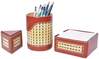 Knott Brown Set of Slip Holder, Pen Holder and paper weight