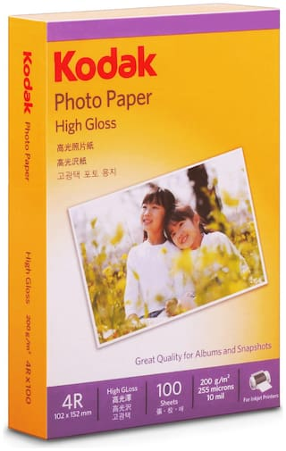 Kodak 200 GSM 4R (4 x 6) Photo Paper High Glossy   Pack of 10 (1000 Sheets)