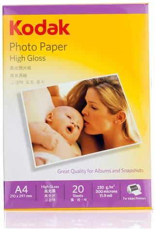 Kodak 230 GSM A4 Photo Paper High Glossy (Pack of 1;20 Sheeets)