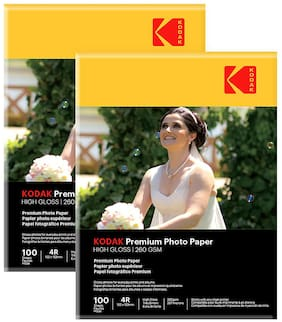 Kodak 260 GSM 4R (4 x 6) Photo Paper High Glossy (2 x 50 Sheets)