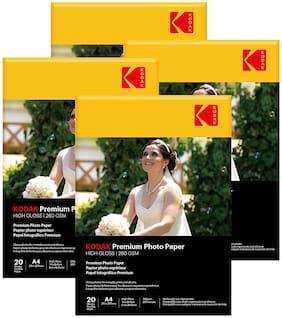 Kodak 260 GSM A4 Photo Paper High Glossy (4 x 20 Sheets)