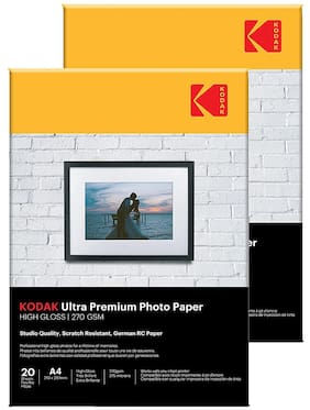 Kodak 270 GSM A4 Photo Paper High Glossy (2 x 20 Sheets)