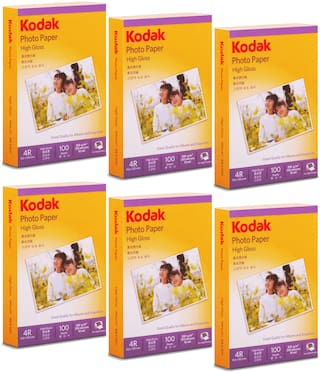 Kodak 4R(4x6) Photo Paper (102x152mm) 200gsm High Glossy Water Resistant Instant Dry For All Inkjet Printers  Set of 6 (600 Sheets)