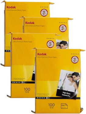 Kodak 4R(4x6) Photo Paper (102x152mm) 280gsm High Glossy Water Proof Instant Dry For All Inkjet Printers  Set of 4 (400 Sheets)