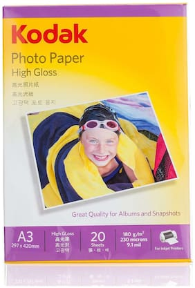 kodak 180 GSM A3 297 x 420mm Photo Paper High Glossy    (20 Sheets)