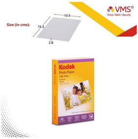 Kodak High Gloss 200GSM 4R ( 102 x 152 mm) 100 Sheets Photo Paper For a Lifetime of MEMORIES and Compatible With CANON, HP, KODAK, EPSON, DELL, BROTHER, LEXMARK Printers