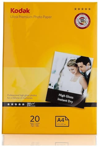 Kodak High Gloss 280GSM A4 (210 x 297 mm )   20 Sheets Photo Paper For a Lifetime of MEMORIES and Compatible With CANON, HP, KODAK, EPSON, DELL, BROTHER, LEXMARK Printers