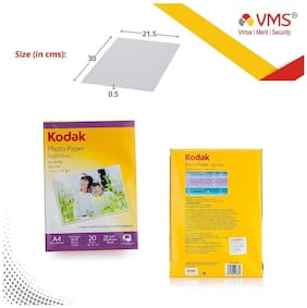 Kodak High Gloss 200GSM A4 (210 x 297 mm )   (Set of 5)100 Sheets Photo Paper For a Lifetime of MEMORIES and Compatible With CANON, HP, KODAK, EPSON, DELL, BROTHER, LEXMARK Printers