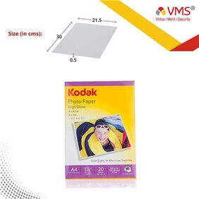 Kodak High Gloss 180GSM A4 ( 210 x 297mm) 20 Sheets Photo Paper For a Lifetime of MEMORIES and Compatible With CANON, HP, KODAK, EPSON, DELL, BROTHER, LEXMARK Printers