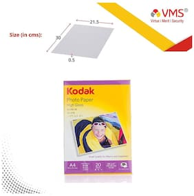 Kodak High Gloss 180 GSM A4 (210 x 297 mm ) 100 Sheets (Set Of 5) Photo Paper For a Lifetime of MEMORIES and Compatible With CANON, HP, KODAK, EPSON, DELL, BROTHER, LEXMARK Printers