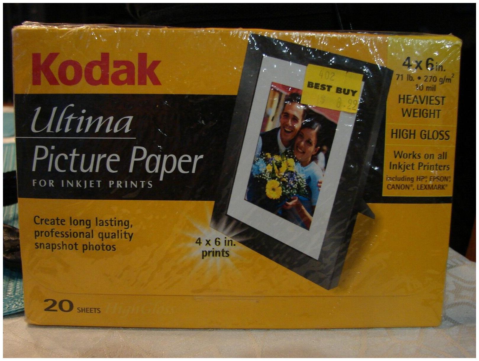 Kodak Ultima High Gloss 4x6  Photo Paper for inkjet printer 20 sheet 1 Pack
