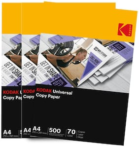 KODAK Universal Copy (Copier) Paper For high-quality Laser and Inkjet printing and copying 70 GSM 1000 Sheets Set Of 3