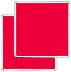 Kohinoor Red Pin Up Notice Board 61 x 61 cm,Set of 2