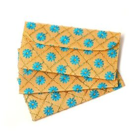 Kolorfish Blue Flower Money Envelope, Shagun Envelop, Wedding, Engagement, Currency Money Envelopes perfect for all Occasions (Pack of 3)