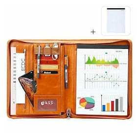 Leathario File Folder Padfolio Writing Pad Business Presentation Orange-2062