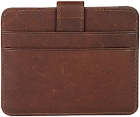 Leather Zentrum Unisex Tan Card Holder With RFID Protected