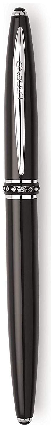 LEGEND Glisten Metal Roller Ball Pen with Black Body and Crystal(Diamond) Studded on Ring Fitted with Germany Made Components (Black)