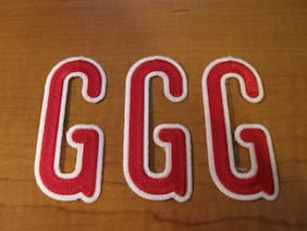 """Letter G Chain Stitched Red Patch Lot of 3 FREE SHIPPING 3 3/8"""" X 1 1/2"""""""