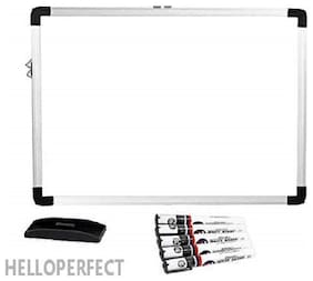 Lightweight Aluminium Frame Non-Magnetic WHITEBOARD with Markers and Duster (WHITEBOARD -1.5 X 2 FEET -Non-Magnetic)