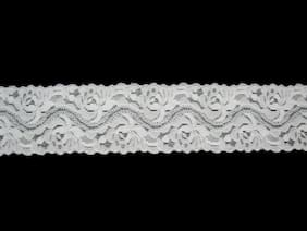 "Lily 1.75"" White Floral Elastic Stretchy Lace Trim DIY Sewing Notions Supplies"