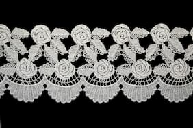 """Lily 4.5"""" White Rose Flower Leaf Scalloped Trim Floral Venice Lace by Yard"""