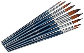 Long Handle Synthetic Round Pointed Tip Artist Paint Brushes 9 Piece Set